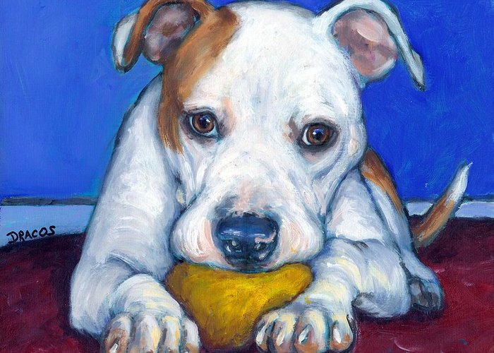 American Bulldog Greeting Card featuring the painting American Bulldog With Yellow Ball by Dottie Dracos