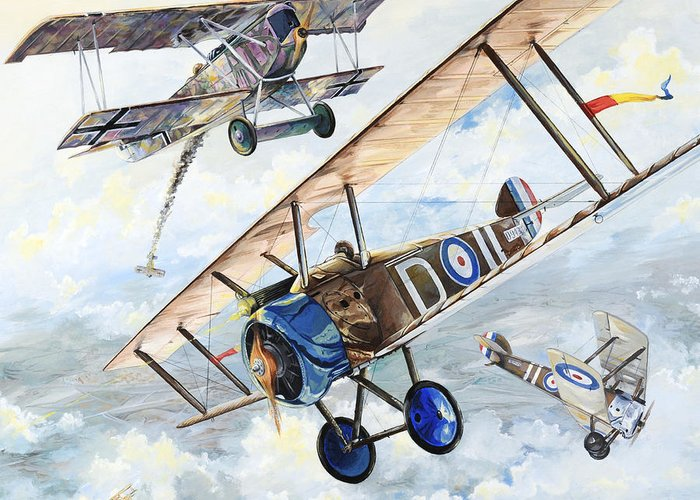 Aircraft Greeting Card featuring the painting American Camel by Charles Taylor