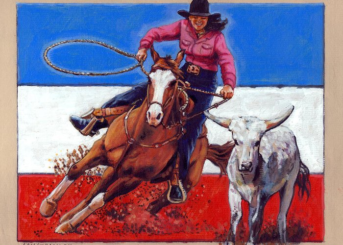 American Cowgirl Greeting Card featuring the painting American Cowgirl by John Lautermilch