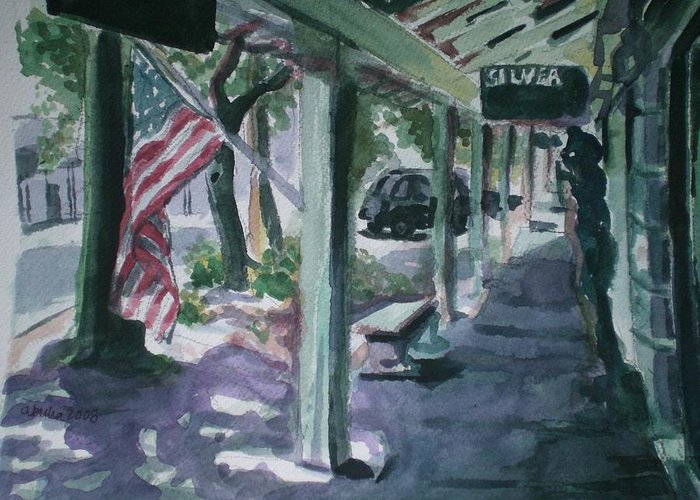 American Flag Greeting Card featuring the painting American Flag by Aleksandra Buha