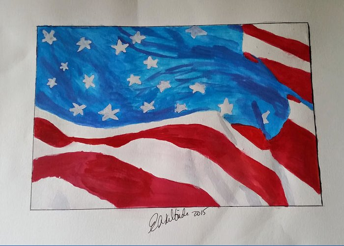 American Flag Greeting Card featuring the painting American Flag by Elizabeth Kilbride
