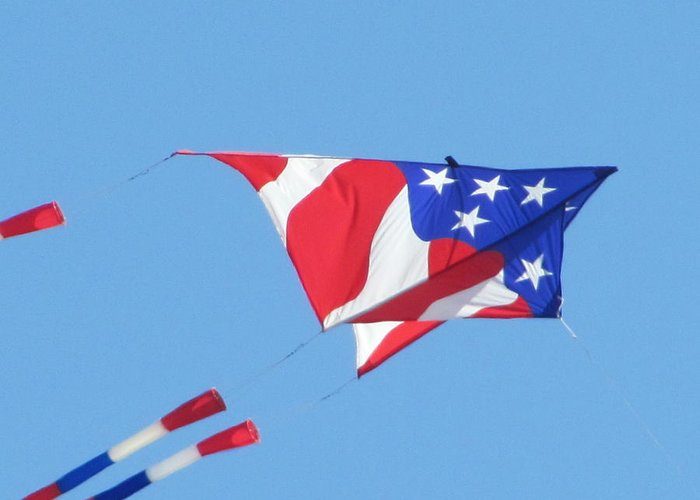 Kite Fyling Greeting Card featuring the photograph American Flag Kite by Gregory Smith