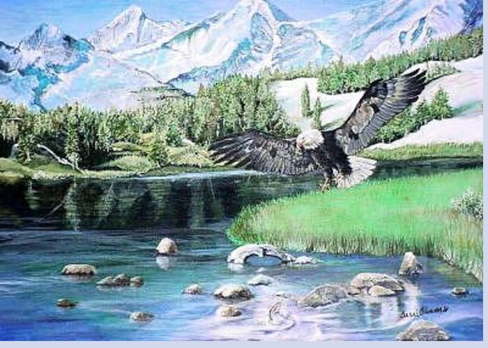 Mountain Greeting Card featuring the painting American Hunter by Terri Kilpatrick