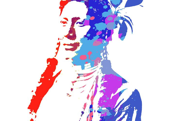 American indian woman greeting card for sale by greg joens american greeting card featuring the digital art american indian woman by greg joens m4hsunfo