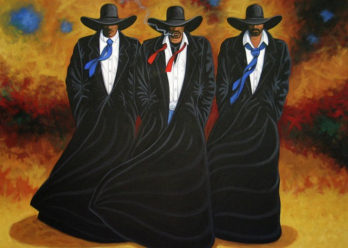 Original Cowboy Art Greeting Card featuring the painting American Justice by Lance Headlee