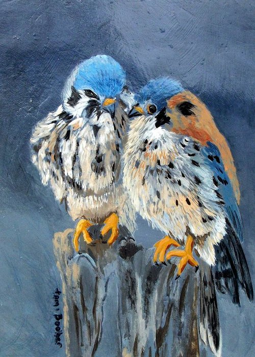 Birds Greeting Card featuring the painting American Kestrels by Tami Booher
