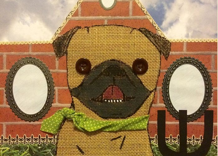 Greeting Card featuring the mixed media American Pug Gothic by Purely Pugs Design