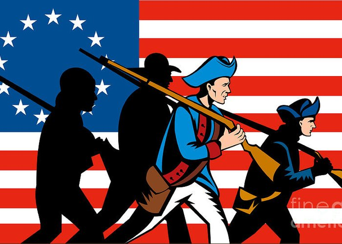 American Revolution Greeting Card featuring the digital art American Revolutionary Soldier Marching by Aloysius Patrimonio