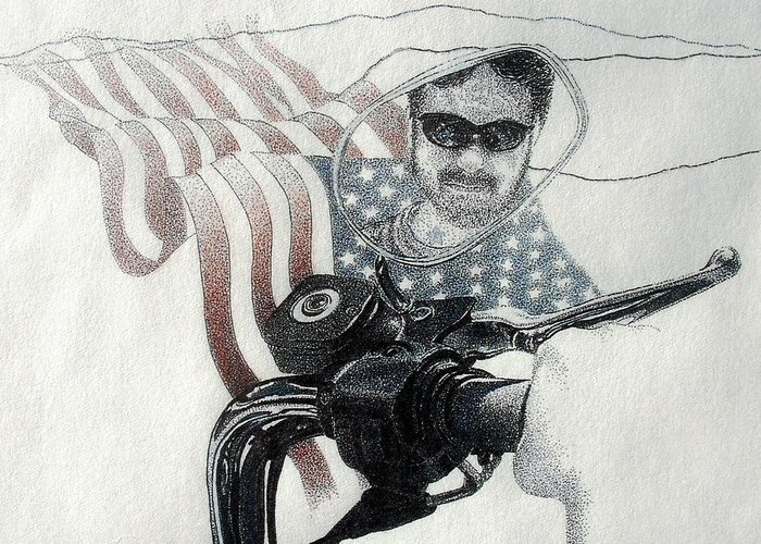Motorcycles Harley American Flag Cycles Biker Greeting Card featuring the drawing American Rider by Tony Ruggiero