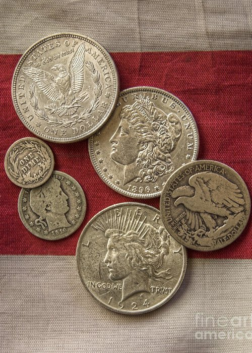Silver Coin Greeting Card featuring the photograph American Silver Coins by Randy Steele