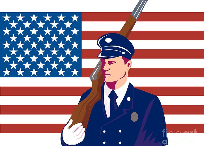 Illustration Greeting Card featuring the digital art American Soldier Flag by Aloysius Patrimonio