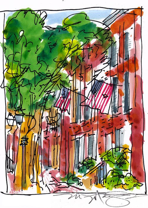 Landscape Greeting Card featuring the painting American Street Philadelphia by Marilyn MacGregor