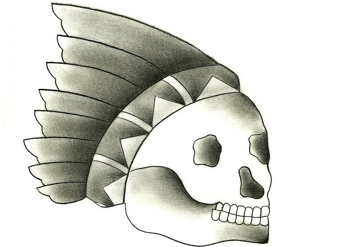 American Traditional Chief Skull Tattoo Flash Greeting Card For Sale