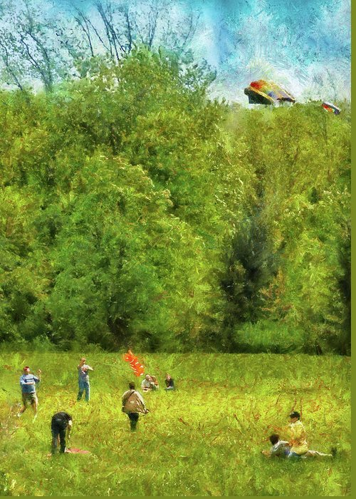 Savad Greeting Card featuring the photograph Americana - People - Let's Go Fly A Kite by Mike Savad