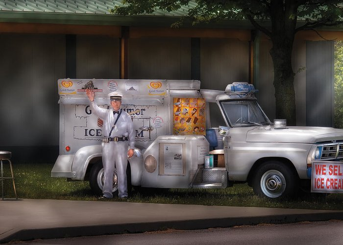 Savad Greeting Card featuring the photograph Americana - We Sell Ice Cream by Mike Savad