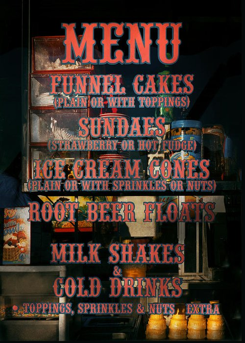 Hdr Greeting Card featuring the photograph Americana - Food - Menu by Mike Savad