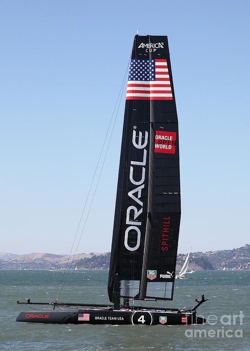San Francisco Greeting Card featuring the photograph America's Cup in San Francisco - Oracle Team USA 4 - 5D18225 by Wingsdomain Art and Photography