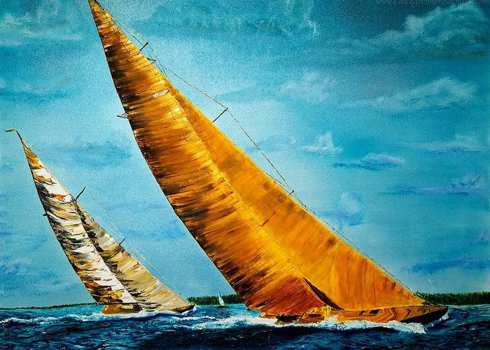 America Greeting Card featuring the painting Americas Cup Sailboat Race by Gregory Allen Page