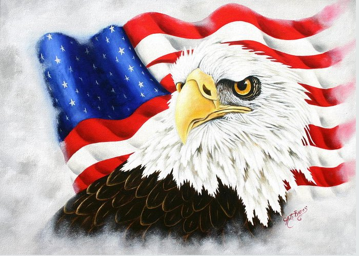 Eagle Greeting Card featuring the painting Americas Pride by Ruth Bares