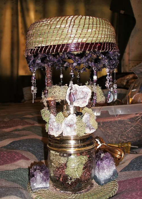Greeting Card featuring the mixed media Amethyist Pine Needle Lamp by Russell Barton
