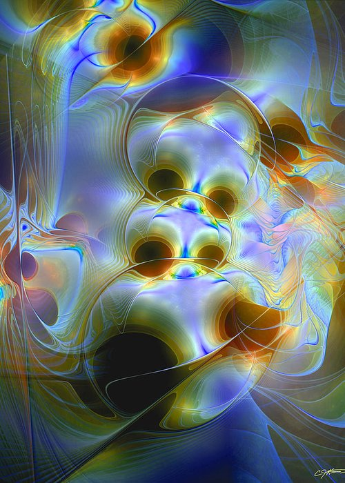 Abstract Greeting Card featuring the digital art Amiable Catharsis by Casey Kotas