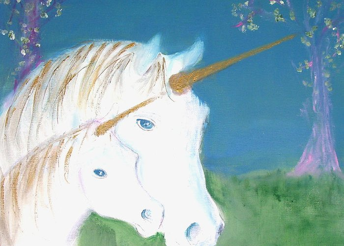 Magic Landscape Greeting Card featuring the painting Amid The Unicorns by Michela Akers