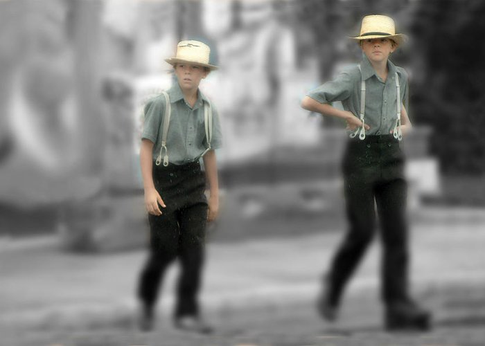 Brothers Greeting Card featuring the photograph Amish Brothers by Don Wolf