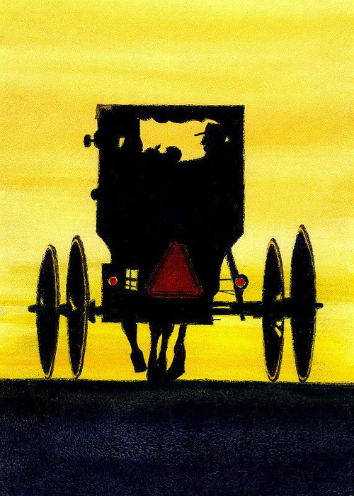 Amish Greeting Card featuring the painting Amish Buggy At Dusk by Michael Vigliotti