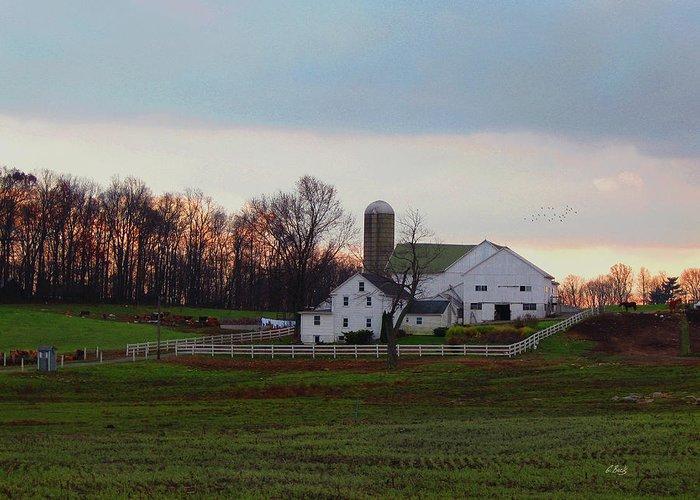 Prosperous Amish Farm House Barn Silo Sunset Twilight Dusk Fall Lancaster County Pennsylvania Pa Clean Still Country Rural Landscape Peaceful Quiet Calm Gordon Beck Art Greeting Card featuring the photograph Amish Farm At Dusk by Gordon Beck