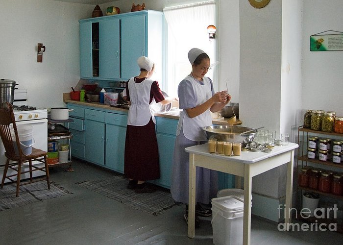 Beau Ohio Greeting Card Featuring The Photograph Amish Kitchen By Fred Lassmann
