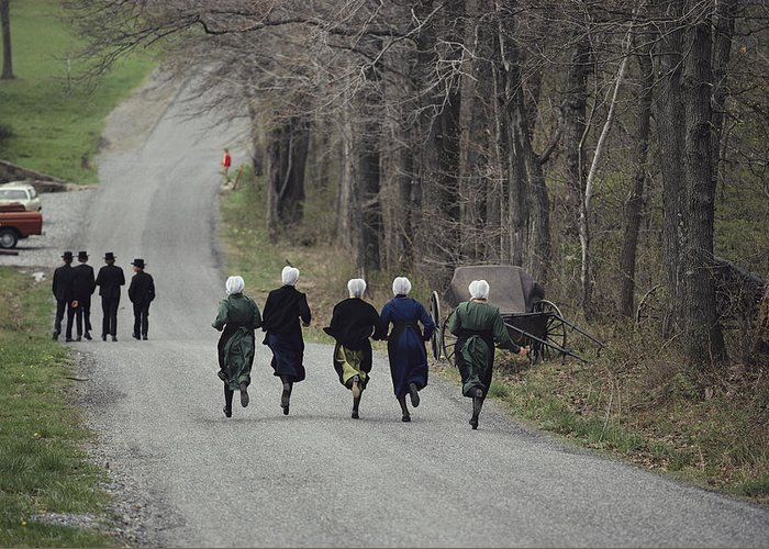 Peoples Greeting Card featuring the photograph Amish People Visiting Middle Creek by Ira Block