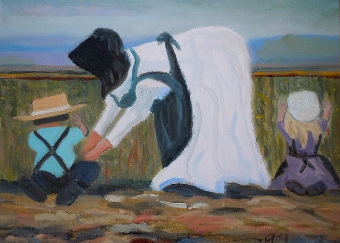 Amish Greeting Card featuring the painting Amish Picking Peas by Francine Frank