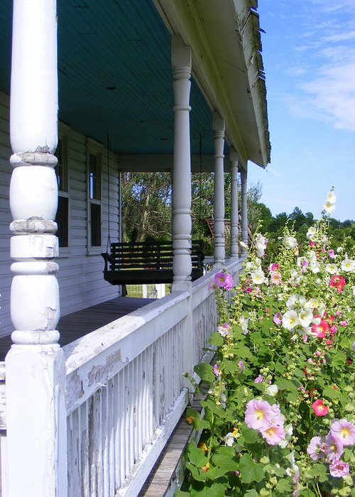 Amish Porch Greeting Card featuring the photograph Amish Porch by Edward Smith