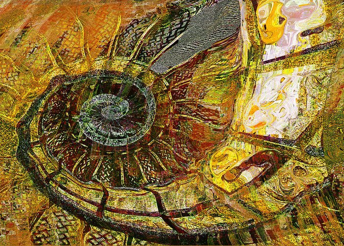Ammonite Greeting Card featuring the painting Ammonite by Anne Weirich