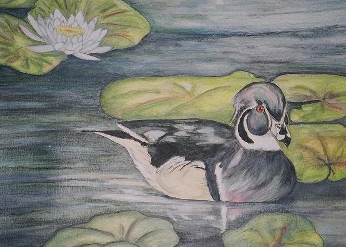 Wood Duck Greeting Card featuring the painting Among The Lillypads by Debra Sandstrom
