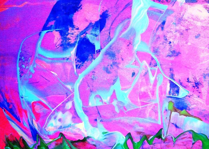 Pink Greeting Card featuring the painting Among The Many Mysteries Underneath The Sea by Bruce Combs - REACH BEYOND