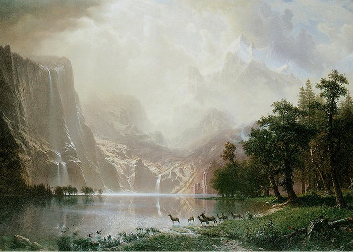 Albert Bierstadt Greeting Card featuring the painting Among The Sierra Nevada Mountains California by Albert Bierstadt