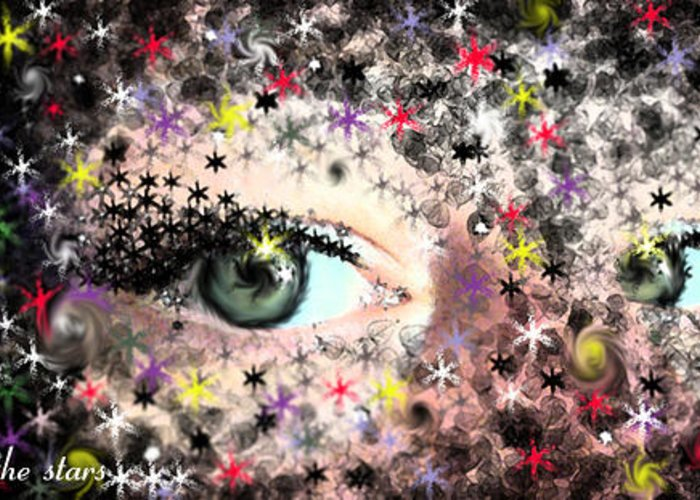 Eyes Greeting Card featuring the mixed media Among The Stars by Hollie Leffel