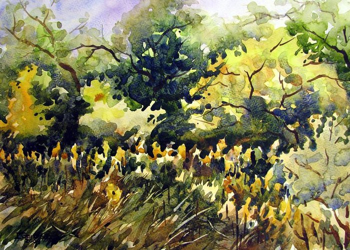 Watercolor Greeting Card featuring the painting Amongst The Goldenrods by Chito Gonzaga