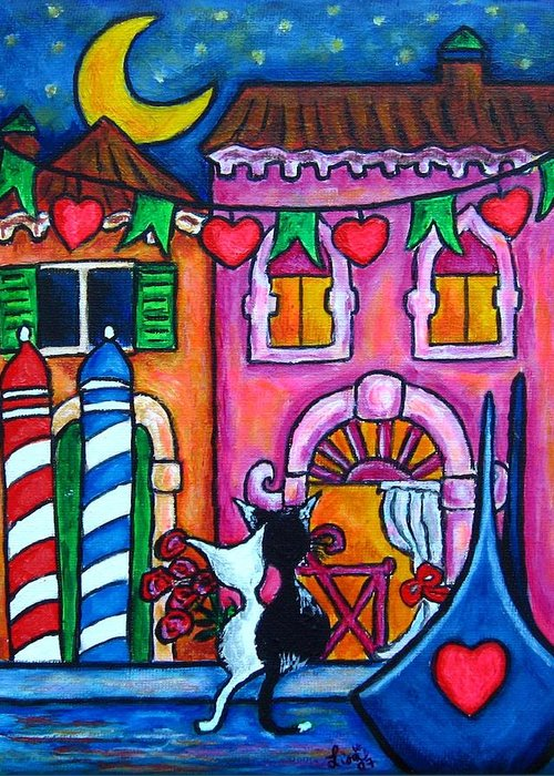 Cats Greeting Card featuring the painting Amore In Venice by Lisa Lorenz
