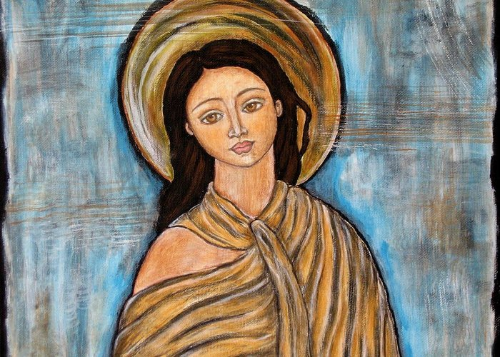 Paintings Greeting Card featuring the painting Amory by Rain Ririn