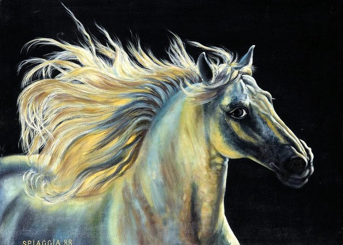 Horse Greeting Card featuring the painting Amour D Etalon by Josette SPIAGGIA