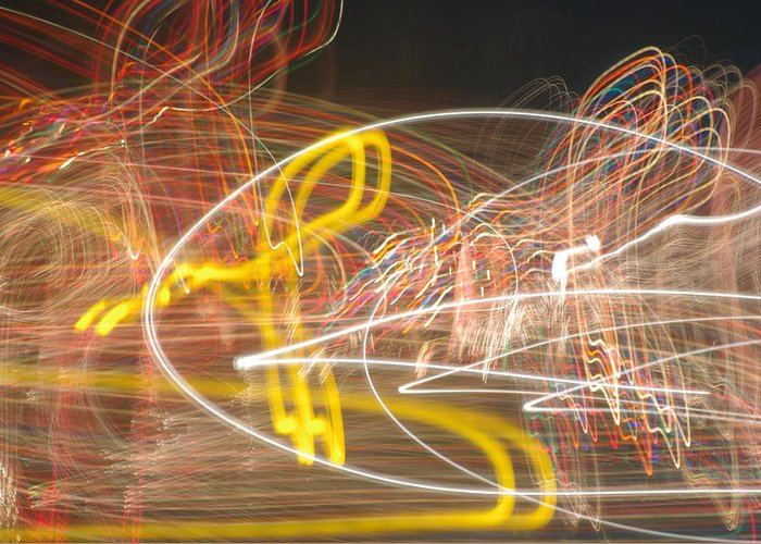 Light Graffiti Greeting Card featuring the photograph Amped by Thomas MacPherson Jr