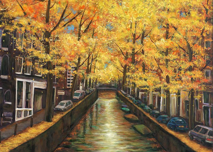 Amsterdam Greeting Card featuring the painting Amsterdam Autumn by Johnathan Harris