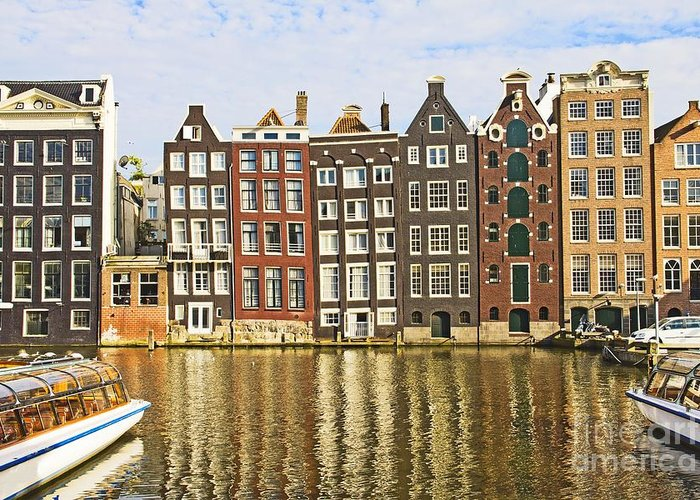 Age Greeting Card featuring the photograph Amsterdam Canal by Giancarlo Liguori