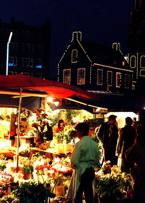 Flowers Greeting Card featuring the photograph Amsterdam Flower Market by Nancy Mueller