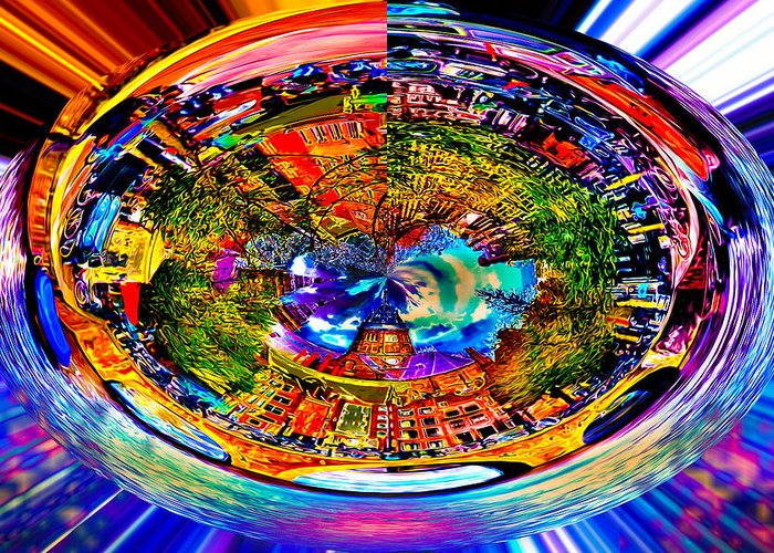 World's Greeting Card featuring the digital art Amsterdam Frisbee by Ron Fleishman