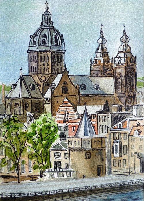 Amsterdam Greeting Card featuring the painting Amsterdam Holland by Irina Sztukowski