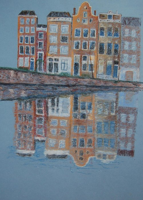 Pastel Greeting Card featuring the painting Amsterdam by Marina Garrison