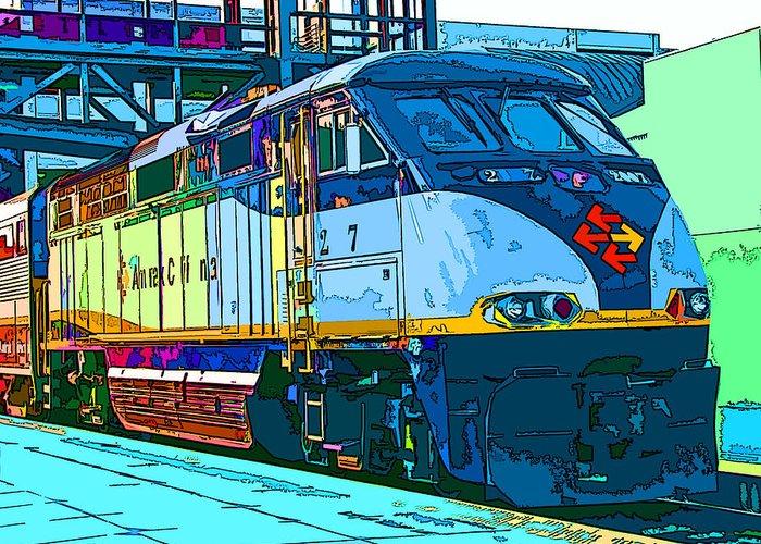 Amtrak Greeting Card featuring the photograph Amtrak Locomotive Study 2 by Samuel Sheats